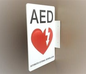 AED Wall Sign - Flanged M3858A
