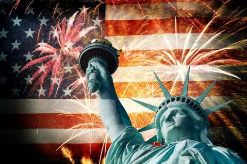 Statue Of Liberty Infront Of American Flag With Fireworks