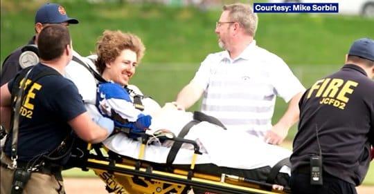 baseball save being taken away on stretcher