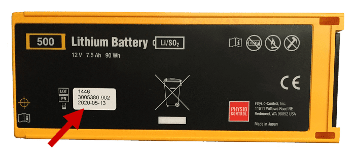 aed battery expiration date location