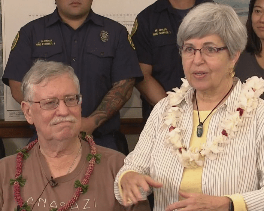 couple saved by AED in hawaii airport