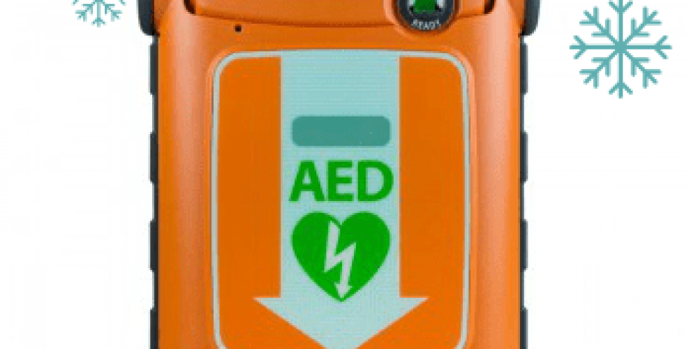 aed with snow